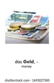 German word card: das Geld (money)