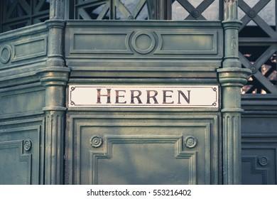 """the german word """"Herren"""" (men) at historic public restroom,"""