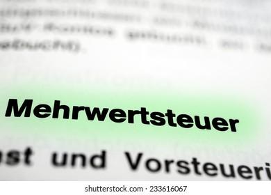 "The German word ""Mehrwertsteuer"", translation: Value Added Tax"
