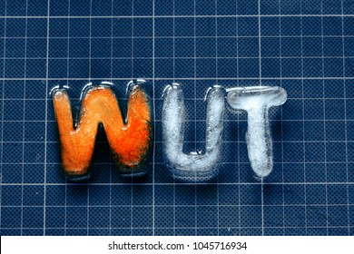 German word WUT (anger) made of icecubes on a cutting mat