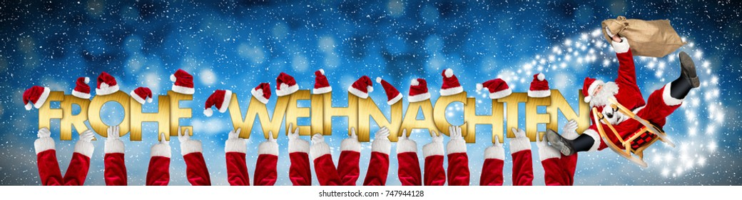 german xmas greeting frohe weihnachten english translation merry christmas crazy funny santa claus on sleigh and costume arms holding up golden letters on blue snow panorama background