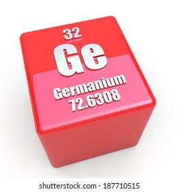 Germanium symbol on glossy red cube
