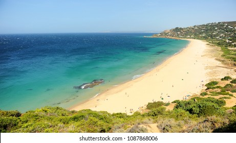 The Germans Beach (Playa de los Alemanes) in Zahara de los Atunes, a paradisiacal beach with turquoise water located between Atlanterra and Bolonia, beaches of Tarifa, Cadiz coast, Andalusia, Spain