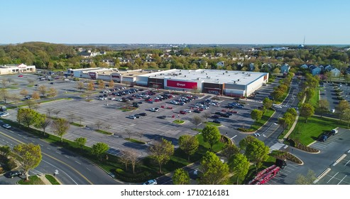 Germantown, Maryland / USA - April 16, 2020: An aerial view of large stores and businesses during the COVID-19 pandemic in the region, including Target, Staples and TJ Maxx.