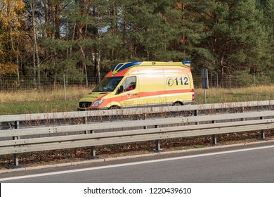 Germany , 02.11.2018 , Lübbenau , Rescue vehicle on German motorway