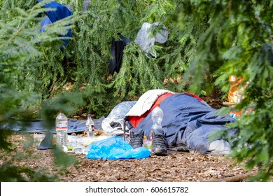 Germany, 03.22.2017 , Berlin , Homeless camps down in bushes in one park from Berlin