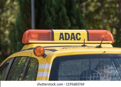 Germany , Lübbenau , 04.10.2018 , Warning light bar with the inscription ADAC on the car roof