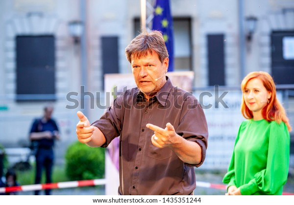 Görlitz, Germany - 05 19 2019: Robert Habeck and Franziska Schubert of Bündnis90/DieGrünen in the Stadthallengarten Görlitz to talk with the citizens