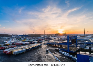 Germany , Lübeck - Travemünde , 05.03.2018 , The port of Lübeck - Travemünde, where only ro-ro ships sail, with lorries and trailers.