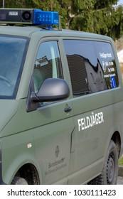 Germany , 14.03.2017 , Döbern City , Vehicle of the German military policemen of the German armed forces