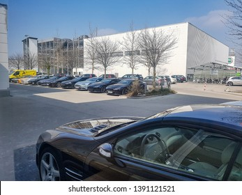 München, Germany, 1.4.2019: Car Store Aston Martin in München. Aston Martin cars parking in front of car store.