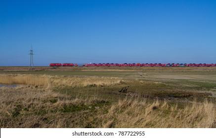 Friedrich-Wilhelm-Lübke-Koog, Germany, 16.03.2016: a train from Niebüll zu Westerland (Sylt)