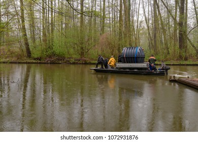 Germany , Lübbenau , 16.04.2018 , As in old times, large, bulky goods are still transported by barge to remote farmsteads today.