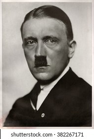 GERMANY - 1923: Studio portrait of Adolf Hitler, leader of nazi Germany. Reproduction of antique photo.