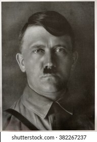 GERMANY - 1929: Studio portrait of Adolf Hitler, leader of nazi Germany. Reproduction of antique photo.