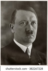 GERMANY - 1936: Studio portrait of Adolf Hitler, leader of nazi Germany. Reproduction of antique photo.
