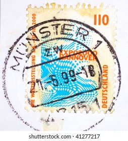 GERMANY - 1999: A stamp printed in Germany shows image celebrating Expo 2000 in Hanover, series, 1999