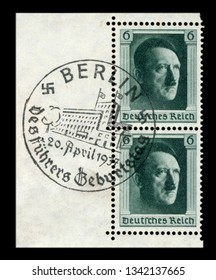 GERMANY - 20 April 1937: German historical stamp: 48th birthday of Adolf Hitler with special first day cancellation, FDC, Reich Chancellery, Berlin, DR, third Reich