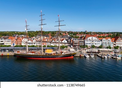Germany , 20.07.2018 , Lübeck , The sailing ship Stad Amsterdam in the harbour of Lübeck Travemünde