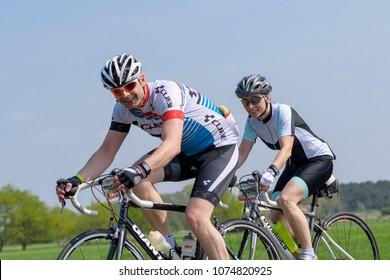 Germany, 21.04.2018, Lübbenau, A couple together at the Spreewald Marathon bicycle race