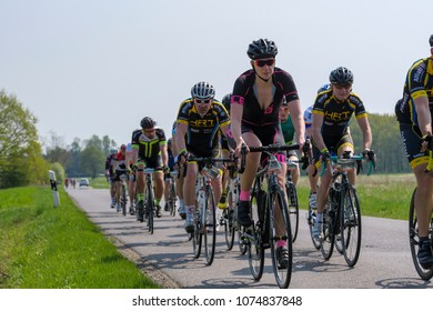 Germany, 21.04.2018, Lübbenau, a mixed group of riders, male and female, together at the bicycle race at the Spreewald Marathon