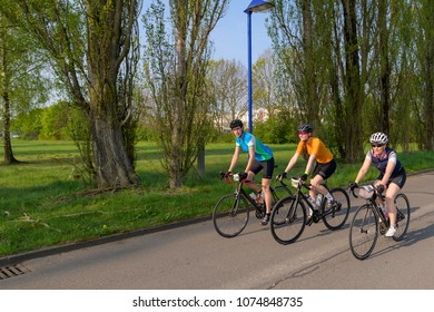 Germany, 21.04.2018, Lübbenau, Germany, three attractive young women at the bicycle race at the Spreewald marathon