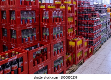 Germany , 22.02.2018 , Lübbenau , Department of non-alcoholic beverages in a supermarket, cola, water, juice