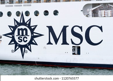 Germany , 24.06.2018 , Rostock , MSC logo on the outer skin of a cruise ship