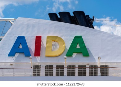 Germany , 27.06.2018 , Rostock , aida logo on the chimney of a cruise ship