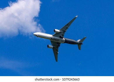 Germany , 28.04.2018 , Berlin ,  An Airbus A350Xwb at the ILA 2018 in Berlin during a flight demonstration