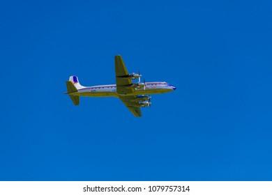 Germany , 28.04.2018 , Berlin , ILA , The Douglas DC-6B of the Flying Bulls in flight