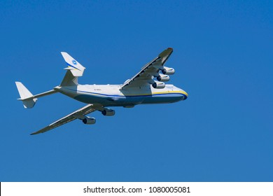 Germany, 29.04.2018, Berlin, ILA, The largest and heaviest aircraft in the world - the Antonov 225 after take-off