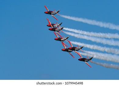 Germany , 29.04.2018 , Berlin , ILA , Spanish aerobatic squadron in the sky