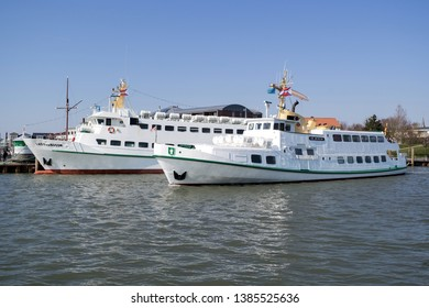 BÜSUM, GERMANY - GERMANY - APRIL 8, 2019: tourist steamers OL BÜSUM and LADY VON BÜSUM, both owned by Adler & Eils