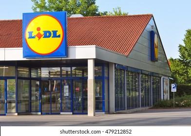 GERMANY- AUG 08:LIDL food and drink store on August 08,2016 in Germany.Lidl Stiftung & Co. KG is a German global discount supermarket chain with 10,000 stores across Europe.