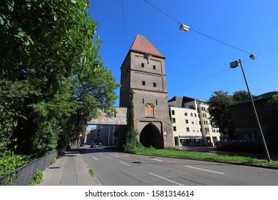 GERMANY, AUGSBURG - AUGUST 18, 2019: The Vogeltor in Augsburg