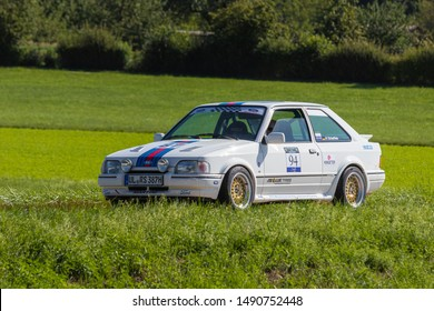Zähringen, Germany - August 11, 2019: Ford Escort RS Turbo oldtimer rally car at the Zähringer Oldtimertreffen event.