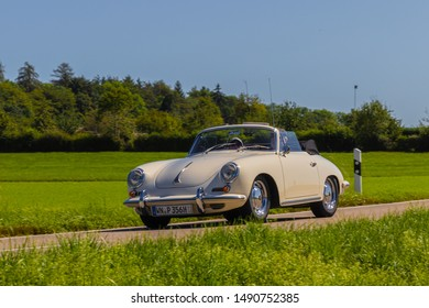 Zähringen, Germany - August 11, 2019: Porsche 356 german oldtimer car at the Zähringer Oldtimertreffen event.