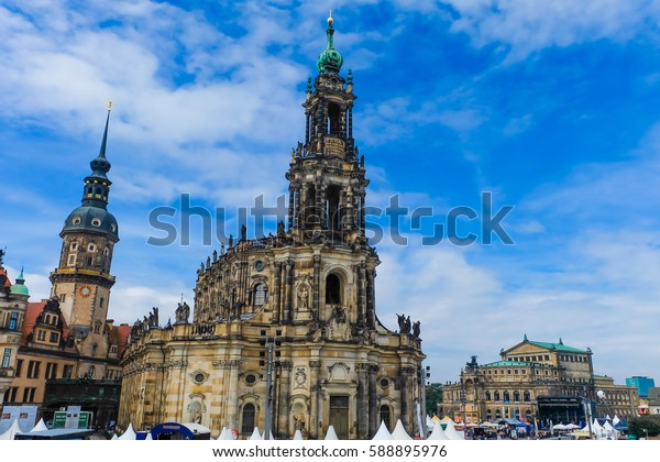 Germany- August, 2016- Theater square in the historic center of Dresden, Saxony in Germany.