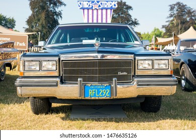 Jüchen, Germany - August 2019. Front view of a black 1980s Cadillac Brougham at Classic Days, Schloss Dyck, Germany. The Cadillac Brougham was a line of luxury cars manufactured by General Motors.