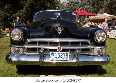 Jüchen, Germany - August 2019. Front view of a black 1949 Cadillac Club Coupés Series 61 at Classic Days, Schloss Dyck, Germany.