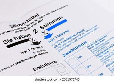 Germany - August 2021: Ballot paper for German federal parliament election called 'Bundestagswahl'