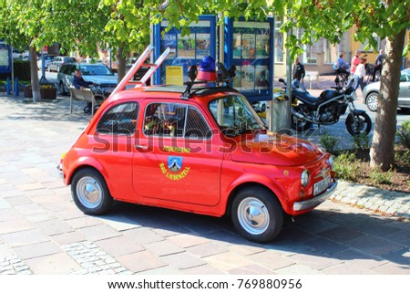 GERMANY, BAD LIEBENZELL, APRIL 30, 2017: Fiat 500 as fire engine of the Bad Liebenzell fire fighters