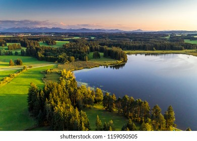 Germany, Bavaria, Allgäu, aerial view to Elbsee