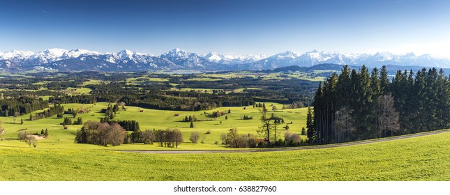 Germany, Bavaria, Allgaeu, panoramic view to alps mountains