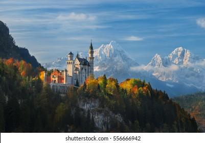 Germany. Bavaria. Panorama Neuschwanstein Castle