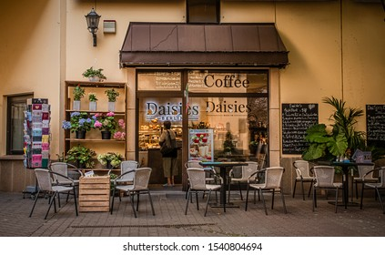 Germany, Berlin - August 23, 2019: German coffee shop in the historic center of Berlin.