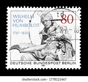 GERMANY, BERLIN - CIRCA 1985 : Cancelled postage stamp printed by Germany, Berlin, that shows portrait of Baron Wilhelm von Humboldt marble sculpture, circa 1985.
