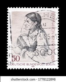 GERMANY, BERLIN - CIRCA 1985 : Cancelled postage stamp printed by Germany, Berlin, that shows Elisabeth Bettina von Arnim, circa 1985.