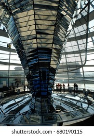 GERMANY, BERLIN - FEBRUARY 19, 2015: Tourists are visiting and watching of interior views at the Reichstag dome in Berlin.
